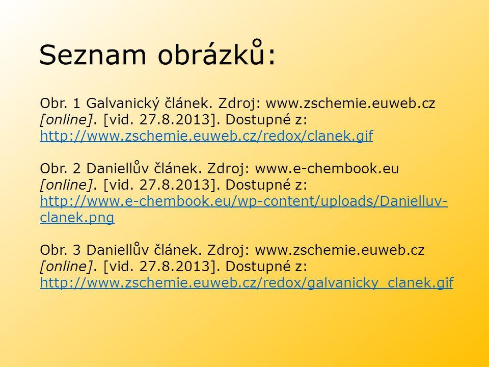 Seznam obrázků: Obr. 1 Galvanický článek. Zdroj: www.zschemie.euweb.cz [online]. [vid. 27.8.2013]. Dostupné z: http://www.zschemie.euweb.cz/redox/clan