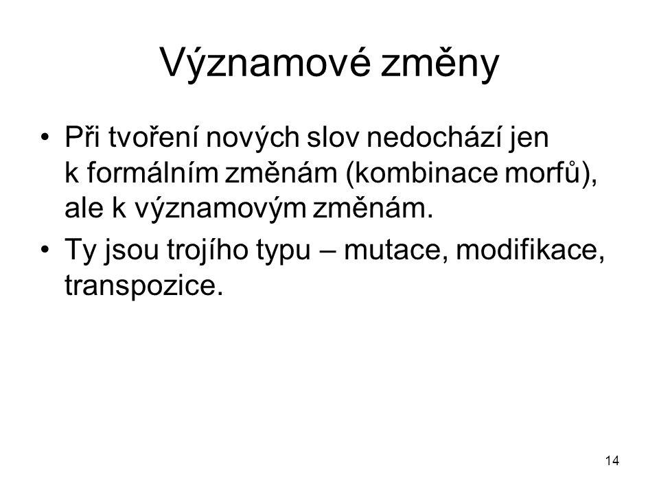14 Významové změny Při tvoření nových slov nedochází jen k formálním změnám (kombinace morfů), ale k významovým změnám.