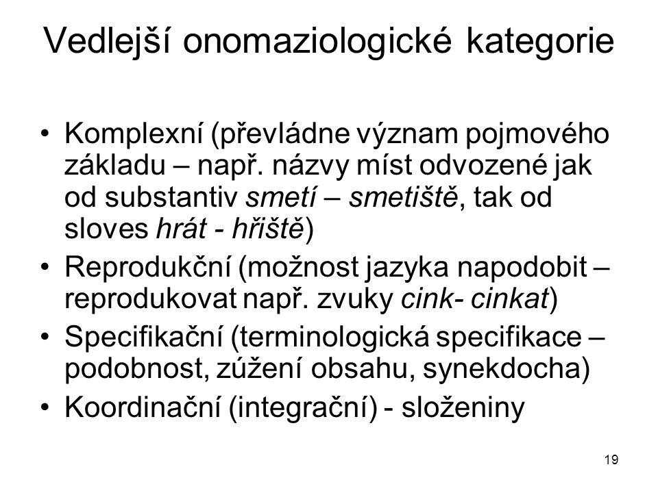 19 Vedlejší onomaziologické kategorie Komplexní (převládne význam pojmového základu – např. názvy míst odvozené jak od substantiv smetí – smetiště, ta
