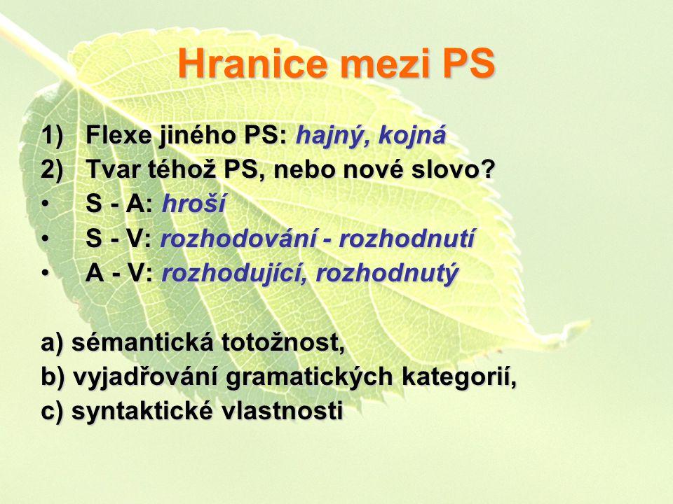Hranice mezi PS 1)Flexe jiného PS: hajný, kojná 2)Tvar téhož PS, nebo nové slovo.