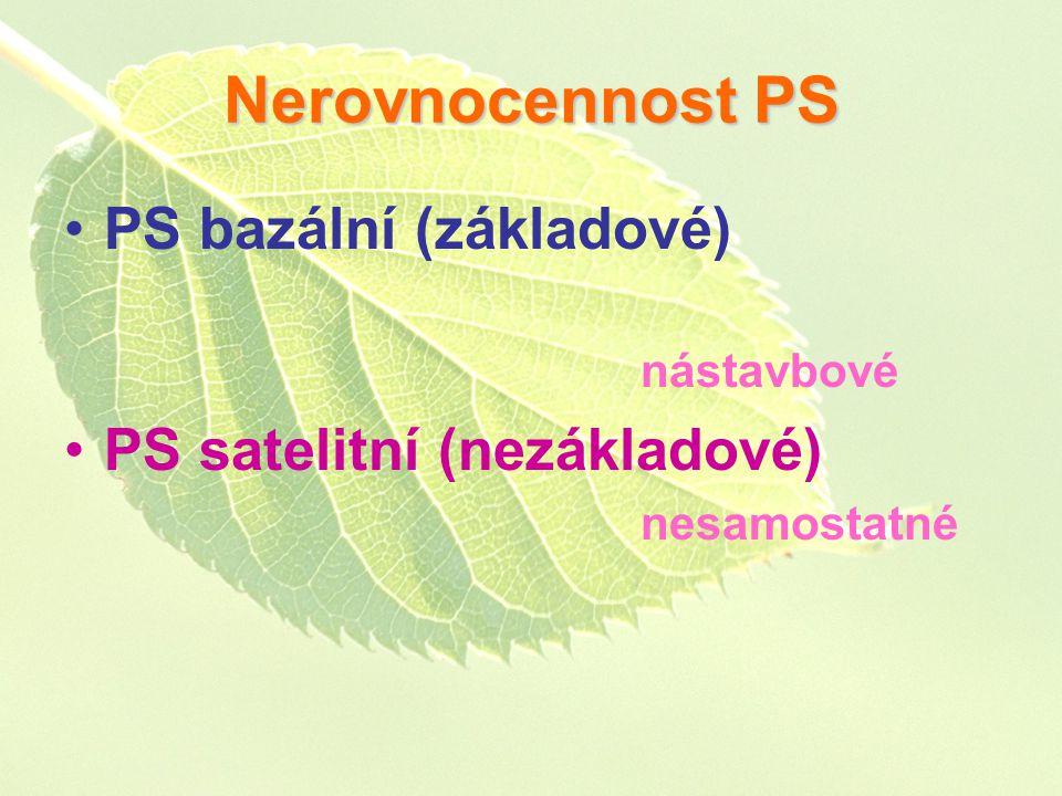 Nerovnocennost PS PS bazální (základové) nástavbové PS satelitní (nezákladové) nesamostatné