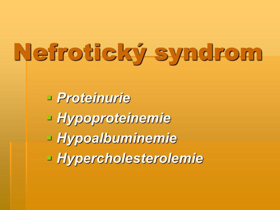 Nefrotický syndrom  Proteinurie  Hypoproteinemie  Hypoalbuminemie  Hypercholesterolemie