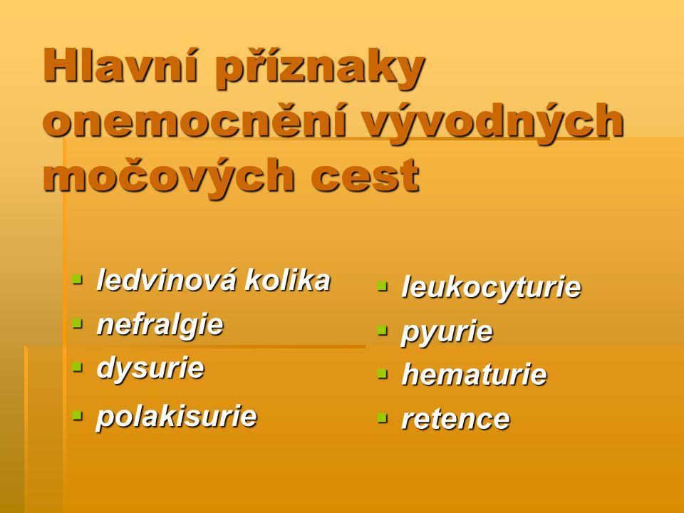 Hlavní příznaky onemocnění vývodných močových cest  ledvinová kolika  nefralgie  dysurie  polakisurie  leukocyturie  pyurie  hematurie  retenc