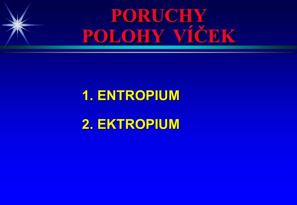 PORUCHY POLOHY VÍČEK PORUCHY POLOHY VÍČEK 1. ENTROPIUM 1. ENTROPIUM 2. EKTROPIUM 2. EKTROPIUM