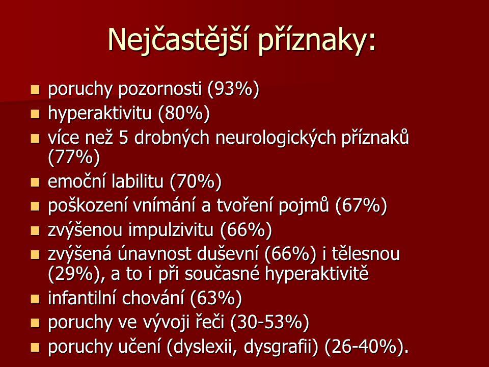 Nejčastější příznaky: Nejčastější příznaky: poruchy pozornosti (93%) poruchy pozornosti (93%) hyperaktivitu (80%) hyperaktivitu (80%) více než 5 drobných neurologických příznaků (77%) více než 5 drobných neurologických příznaků (77%) emoční labilitu (70%) emoční labilitu (70%) poškození vnímání a tvoření pojmů (67%) poškození vnímání a tvoření pojmů (67%) zvýšenou impulzivitu (66%) zvýšenou impulzivitu (66%) zvýšená únavnost duševní (66%) i tělesnou (29%), a to i při současné hyperaktivitě zvýšená únavnost duševní (66%) i tělesnou (29%), a to i při současné hyperaktivitě infantilní chování (63%) infantilní chování (63%) poruchy ve vývoji řeči (30-53%) poruchy ve vývoji řeči (30-53%) poruchy učení (dyslexii, dysgrafii) (26-40%).