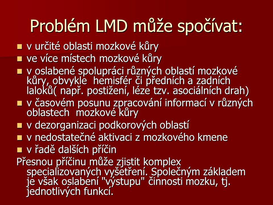 Problém LMD může spočívat: v určité oblasti mozkové kůry v určité oblasti mozkové kůry ve více místech mozkové kůry ve více místech mozkové kůry v osl