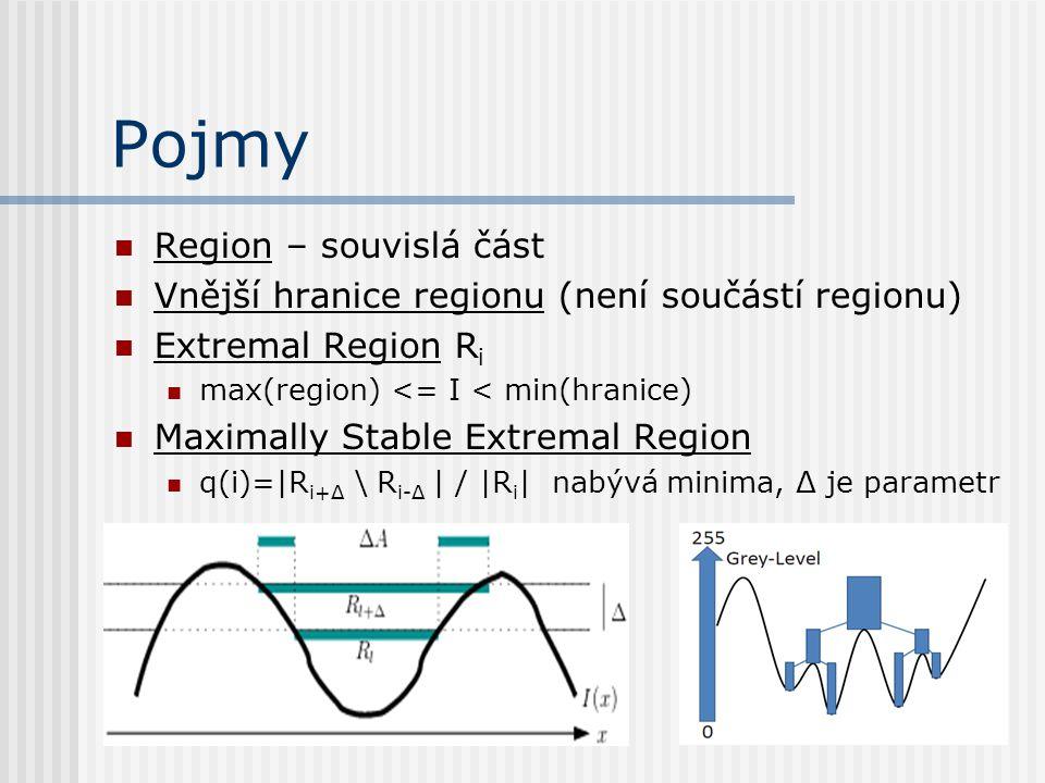 Pojmy Region – souvislá část Vnější hranice regionu (není součástí regionu) Extremal Region R i max(region) <= I < min(hranice) Maximally Stable Extremal Region q(i)=|R i+Δ \ R i-Δ | / |R i | nabývá minima, Δ je parametr