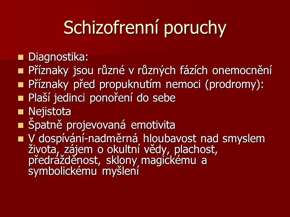 Schizofrenní poruchy Diagnostika: Diagnostika: Příznaky jsou různé v různých fázích onemocnění Příznaky jsou různé v různých fázích onemocnění Příznaky před propuknutím nemoci (prodromy): Příznaky před propuknutím nemoci (prodromy): Plaší jedinci ponoření do sebe Plaší jedinci ponoření do sebe Nejistota Nejistota Špatně projevovaná emotivita Špatně projevovaná emotivita V dospívání-nadměrná hloubavost nad smyslem života, zájem o okultní vědy, plachost, předrážděnost, sklony magickému a symbolickému myšlení V dospívání-nadměrná hloubavost nad smyslem života, zájem o okultní vědy, plachost, předrážděnost, sklony magickému a symbolickému myšlení