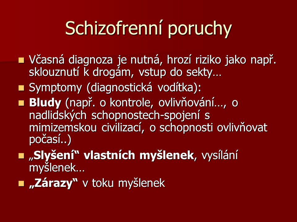 """Schizofrenní poruchy Symptomy pokračování: Symptomy pokračování: Halucinace(""""hlasy které mluví o pacientovi nebo hlasy z těla…) Halucinace(""""hlasy které mluví o pacientovi nebo hlasy z těla…) Zmatená mluva Zmatená mluva Zmatené jednání (nebo katatonní)-např."""
