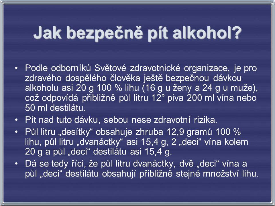 Jak bezpečně pít alkohol? Podle odborníků Světové zdravotnické organizace, je pro zdravého dospělého člověka ještě bezpečnou dávkou alkoholu asi 20 g