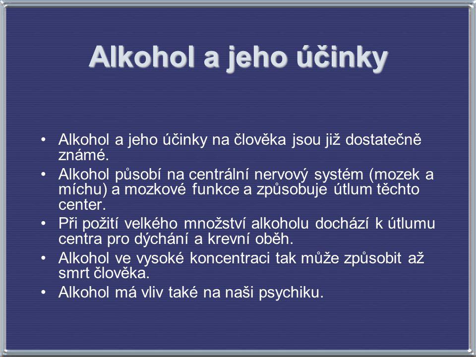 Alkohol a jeho účinky Alkohol a jeho účinky na člověka jsou již dostatečně známé. Alkohol působí na centrální nervový systém (mozek a míchu) a mozkové