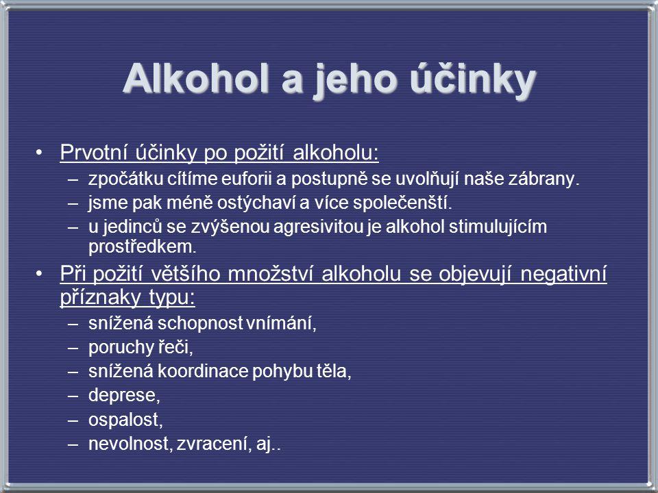 Alkohol a jeho účinky Prvotní účinky po požití alkoholu: –zpočátku cítíme euforii a postupně se uvolňují naše zábrany. –jsme pak méně ostýchaví a více