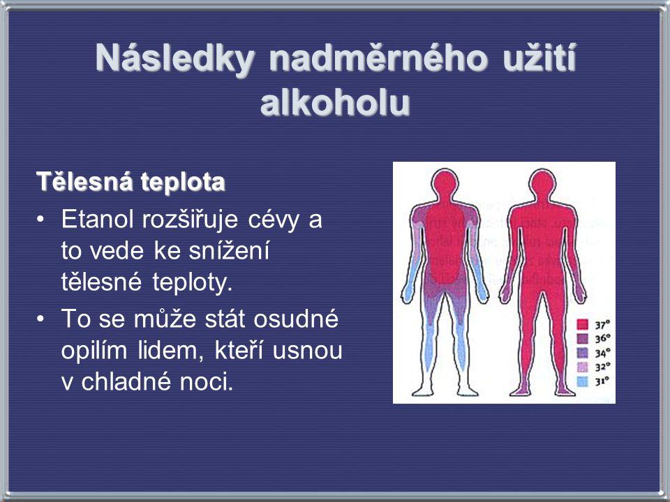 Následky nadměrného užití alkoholu Tělesná teplota Etanol rozšiřuje cévy a to vede ke snížení tělesné teploty. To se může stát osudné opilím lidem, kt