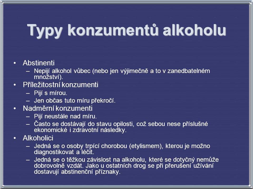 Typy konzumentů alkoholu Abstinenti –Nepijí alkohol vůbec (nebo jen výjimečně a to v zanedbatelném množství). Příležitostní konzumenti –Pijí s mírou.