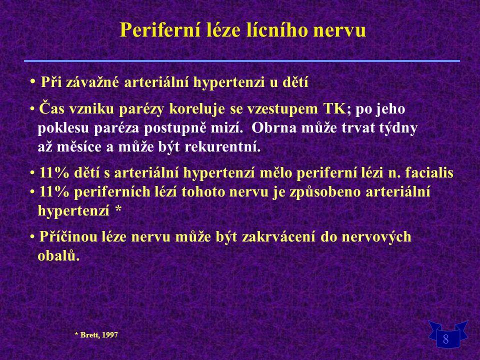 8 Periferní léze lícního nervu Při závažné arteriální hypertenzi u dětí Čas vzniku parézy koreluje se vzestupem TK; po jeho poklesu paréza postupně mi