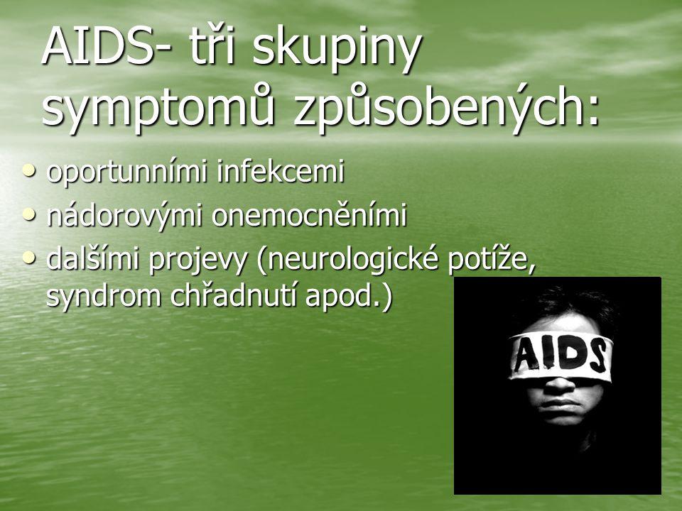 AIDS- tři skupiny symptomů způsobených: oportunními infekcemi oportunními infekcemi nádorovými onemocněními nádorovými onemocněními dalšími projevy (neurologické potíže, syndrom chřadnutí apod.) dalšími projevy (neurologické potíže, syndrom chřadnutí apod.)
