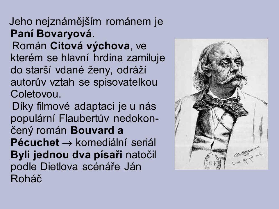 Jeho nejznámějším románem je Paní Bovaryová. Román Citová výchova, ve kterém se hlavní hrdina zamiluje do starší vdané ženy, odráží autorův vztah se s