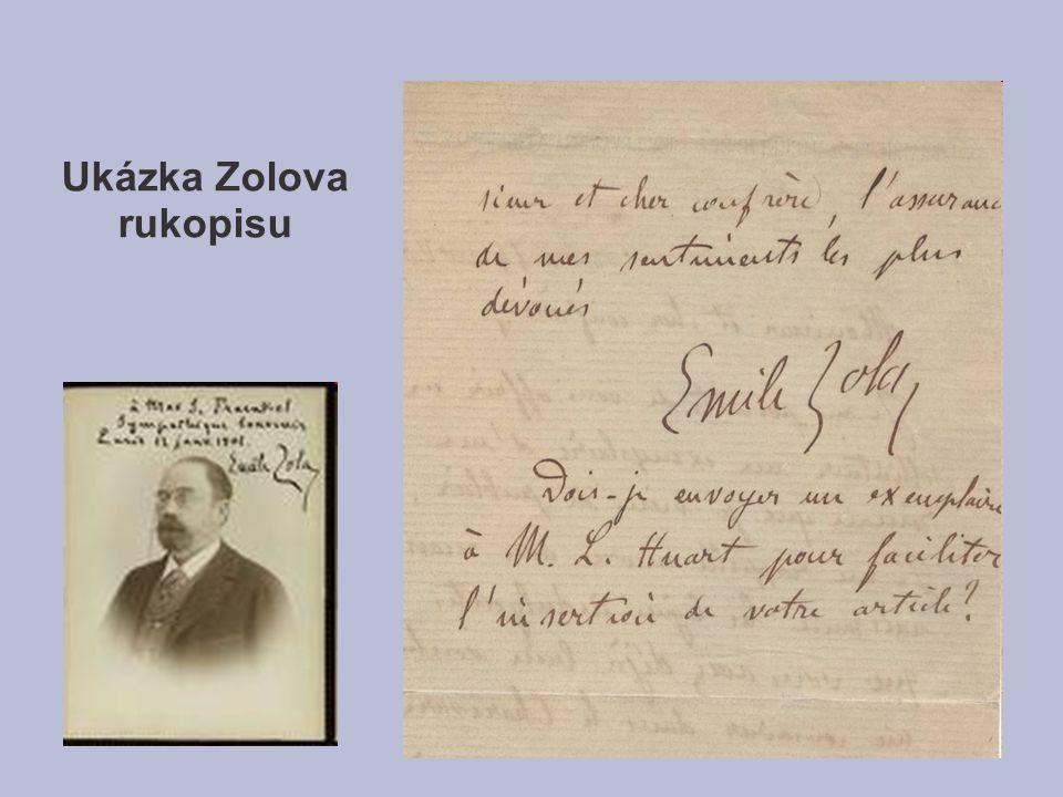Ukázka Zolova rukopisu