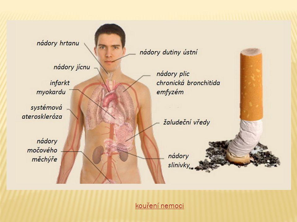  Rakovina – nádory v plicích, ústech, ve střevech, konečníku, v ledvinách a močovém měchýři, na děložním čípku,…  Srdce a cévy – urychluje kornatění tepen, srdeční infarkt, mozkové cévní příhody,….