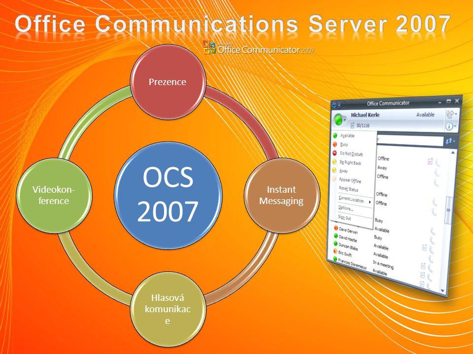 OCS 2007 Prezence Instant Messaging Hlasová komunikac e Videokon- ference