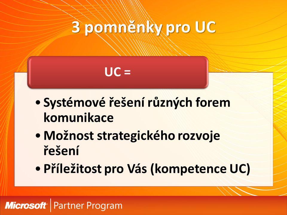 3 pomněnky pro UC Systémové řešení různých forem komunikace Možnost strategického rozvoje řešení Příležitost pro Vás (kompetence UC) UC =