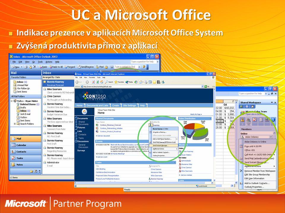 Indikace prezence v aplikacích Microsoft Office System Zvýšená produktivita přímo z aplikací UC a Microsoft Office