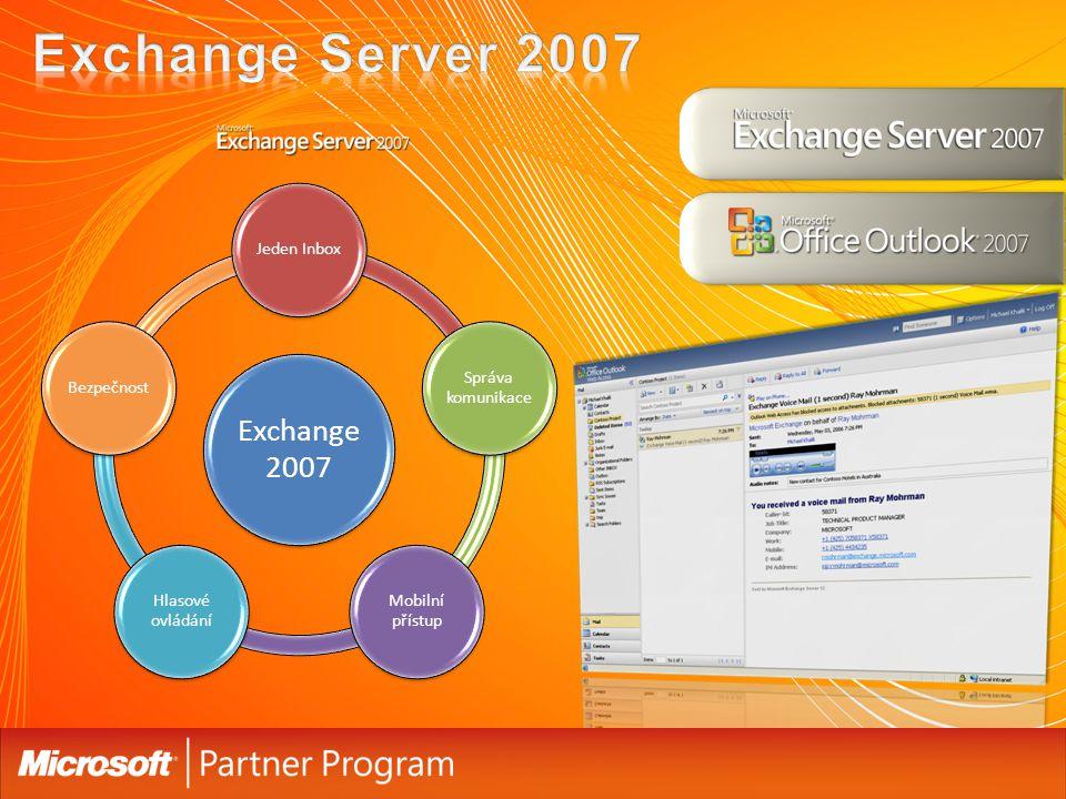 Exchange 2007 Jeden Inbox Správa komunikace Mobilní přístup Hlasové ovládání Bezpečnost