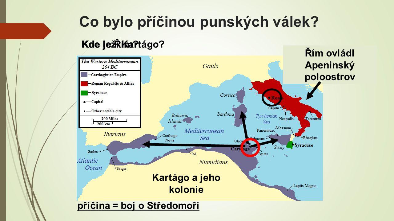 Co bylo příčinou punských válek.Řím ovládl Apeninský poloostrov Kartágo a jeho kolonie Kde je Řím.