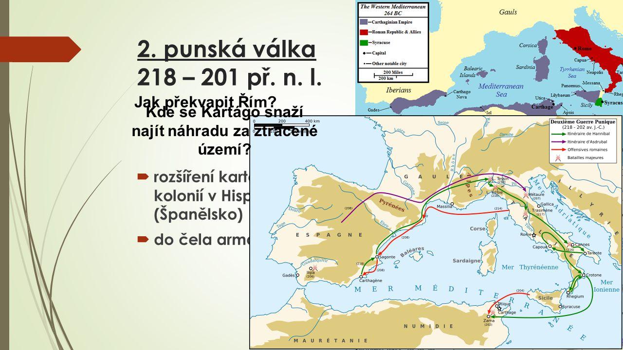 Hannibal  přechod Alp  moment překvapení  využití slonů  tažení Itálií  při ohrožení Kartága povolán do Afriky  202 př.