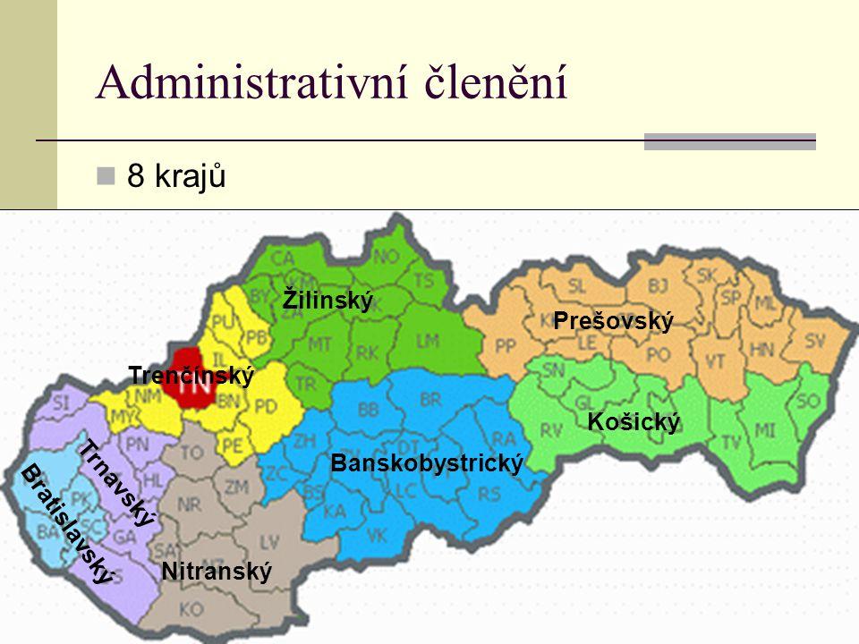 Administrativní členění 8 krajů Bratislavský Trnavský Trenčínský Žilinský Nitranský Banskobystrický Prešovský Košický