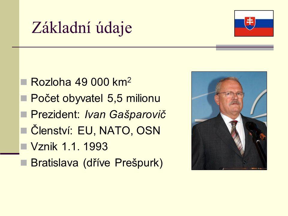 Základní údaje Rozloha 49 000 km 2 Počet obyvatel 5,5 milionu Prezident: Ivan Gašparovič Členství: EU, NATO, OSN Vznik 1.1.