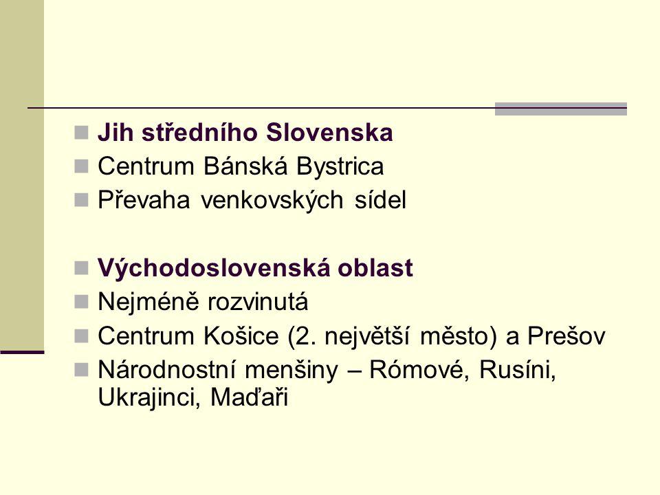 Jih středního Slovenska Centrum Bánská Bystrica Převaha venkovských sídel Východoslovenská oblast Nejméně rozvinutá Centrum Košice (2.