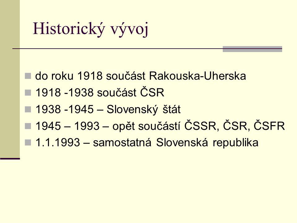 Historický vývoj do roku 1918 součást Rakouska-Uherska 1918 -1938 součást ČSR 1938 -1945 – Slovenský štát 1945 – 1993 – opět součástí ČSSR, ČSR, ČSFR 1.1.1993 – samostatná Slovenská republika