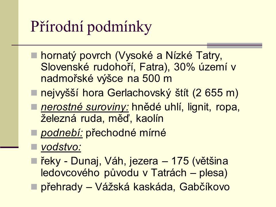 Přírodní podmínky hornatý povrch (Vysoké a Nízké Tatry, Slovenské rudohoří, Fatra), 30% území v nadmořské výšce na 500 m nejvyšší hora Gerlachovský štít (2 655 m) nerostné suroviny: hnědé uhlí, lignit, ropa, železná ruda, měď, kaolín podnebí: přechodné mírné vodstvo: řeky - Dunaj, Váh, jezera – 175 (většina ledovcového původu v Tatrách – plesa) přehrady – Vážská kaskáda, Gabčíkovo