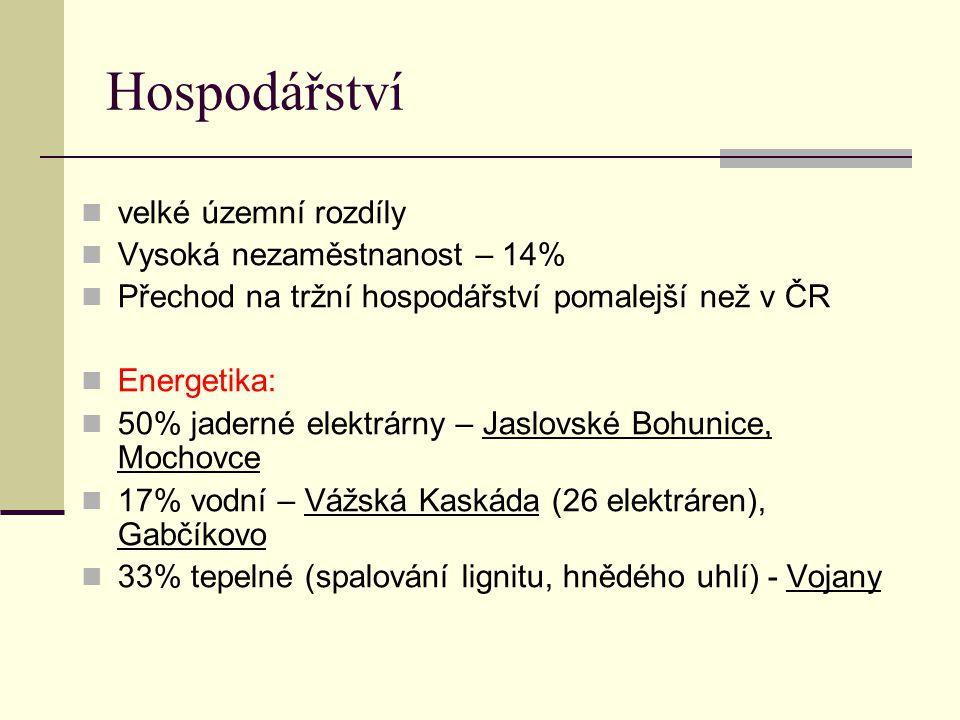 Hospodářství velké územní rozdíly Vysoká nezaměstnanost – 14% Přechod na tržní hospodářství pomalejší než v ČR Energetika: 50% jaderné elektrárny – Jaslovské Bohunice, Mochovce 17% vodní – Vážská Kaskáda (26 elektráren), Gabčíkovo 33% tepelné (spalování lignitu, hnědého uhlí) - Vojany