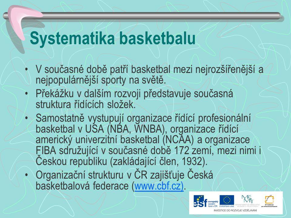 Systematika basketbalu V současné době patří basketbal mezi nejrozšířenější a nejpopulárnější sporty na světě. Překážku v dalším rozvoji představuje s