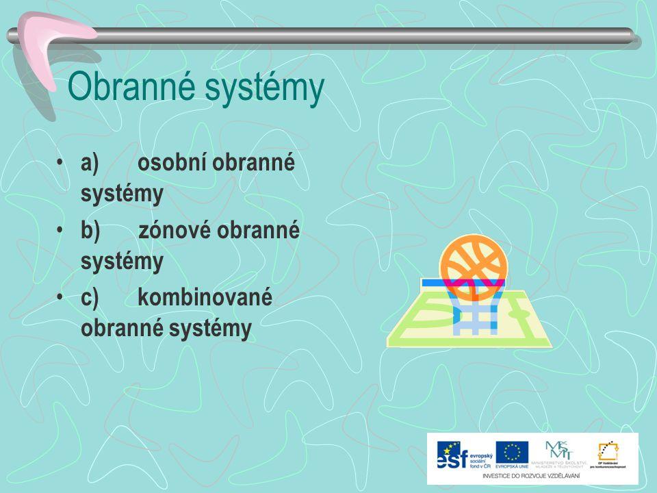 Obranné systémy a) osobní obranné systémy b) zónové obranné systémy c) kombinované obranné systémy