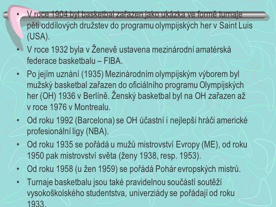 V roce 1904 byl basketbal zařazen jako ukázka ve formě turnaje pěti oddílových družstev do programu olympijských her v Saint Luis (USA). V roce 1932 b
