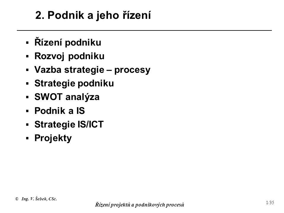 © Ing. V. Šebek, CSc. Řízení projektů a podnikových procesů 1/35 2. Podnik a jeho řízení  Řízení podniku  Rozvoj podniku  Vazba strategie – procesy