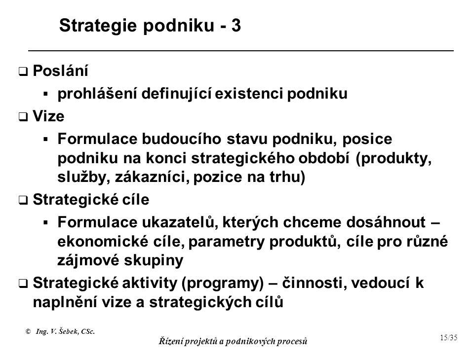 © Ing. V. Šebek, CSc. Řízení projektů a podnikových procesů 15/35 Strategie podniku - 3  Poslání  prohlášení definující existenci podniku  Vize  F