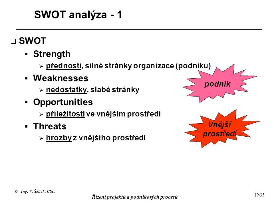 © Ing. V. Šebek, CSc. Řízení projektů a podnikových procesů 19/35 SWOT analýza - 1  SWOT  Strength  přednosti, silné stránky organizace (podniku) 
