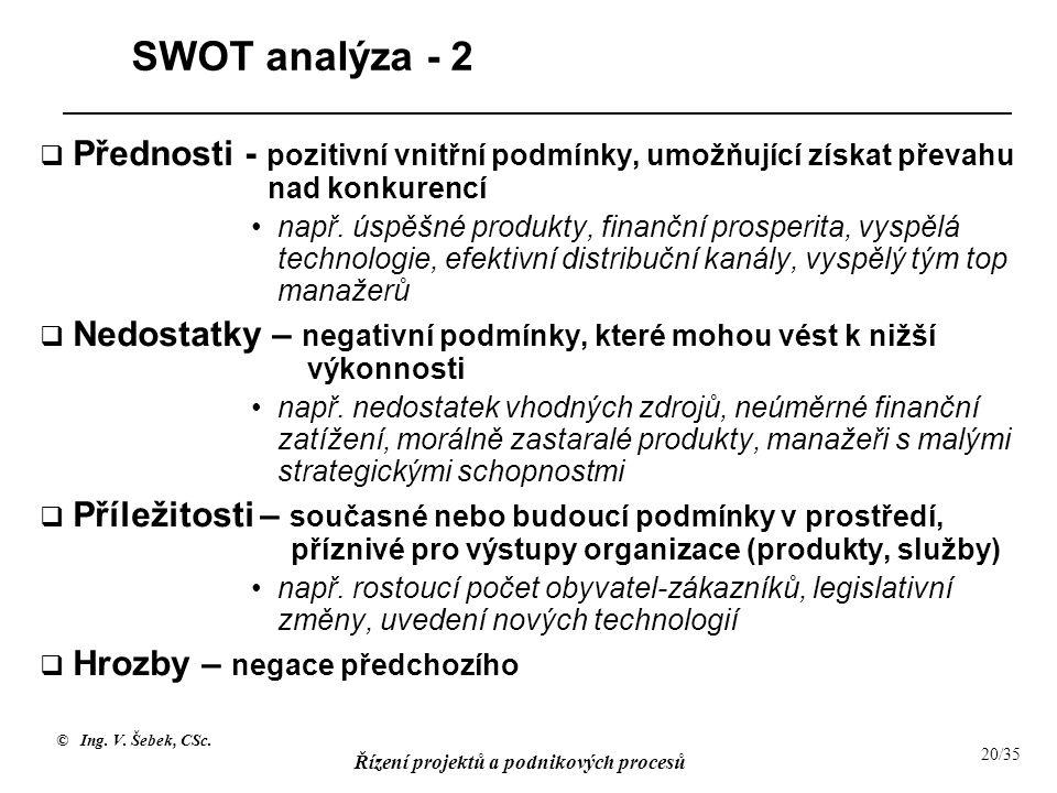 © Ing. V. Šebek, CSc. Řízení projektů a podnikových procesů 20/35 SWOT analýza - 2  Přednosti - pozitivní vnitřní podmínky, umožňující získat převahu
