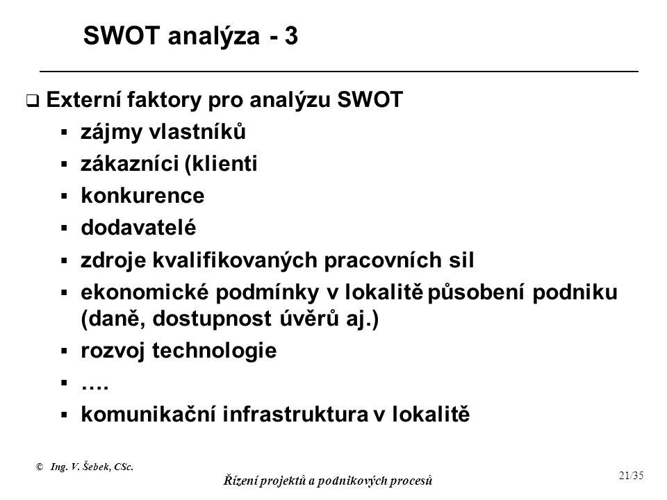 © Ing. V. Šebek, CSc. Řízení projektů a podnikových procesů 21/35 SWOT analýza - 3  Externí faktory pro analýzu SWOT  zájmy vlastníků  zákazníci (k