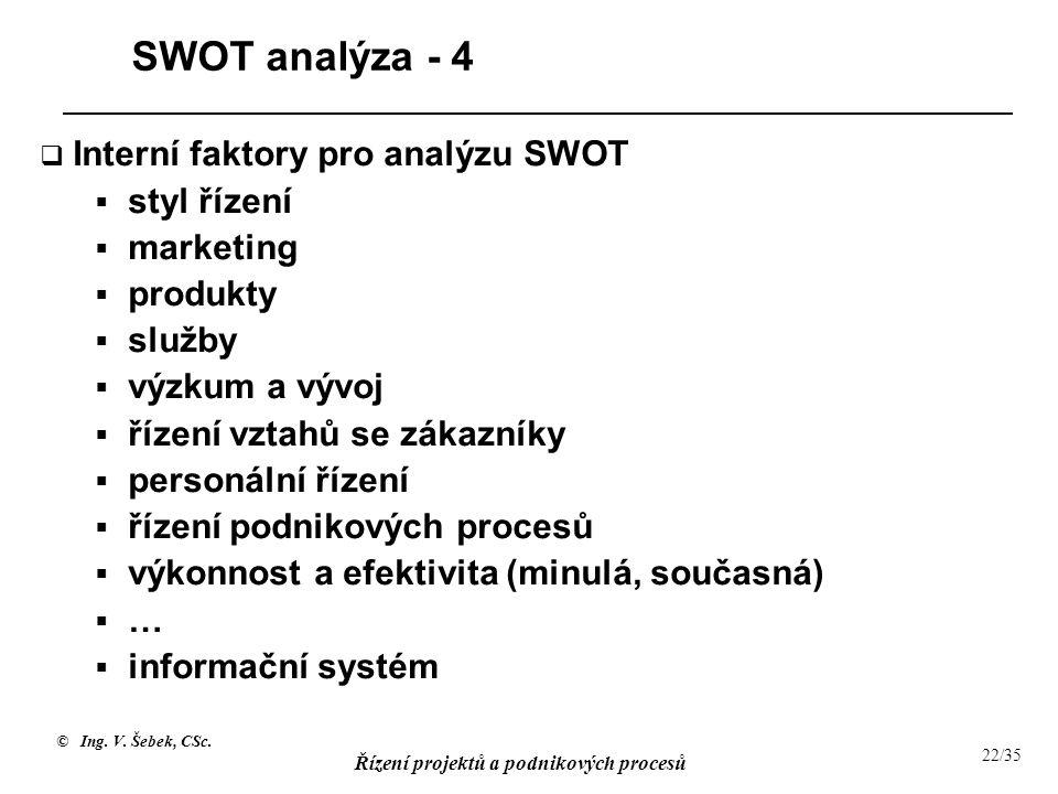 © Ing. V. Šebek, CSc. Řízení projektů a podnikových procesů 22/35 SWOT analýza - 4  Interní faktory pro analýzu SWOT  styl řízení  marketing  prod