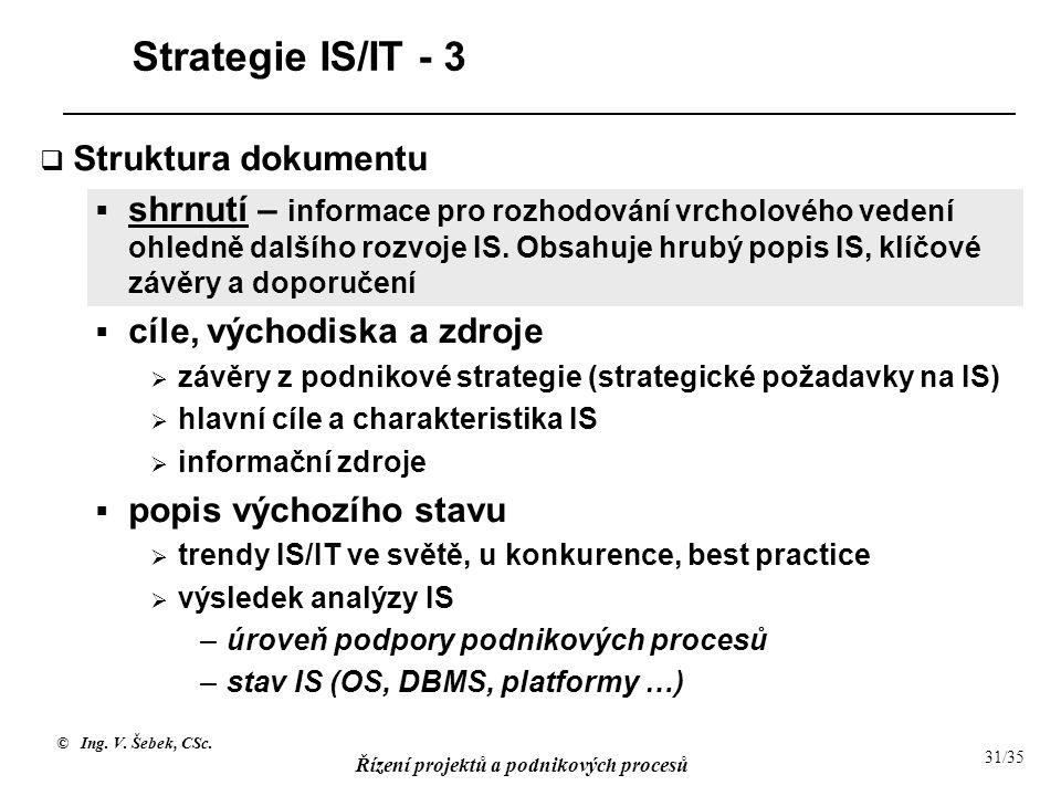 © Ing. V. Šebek, CSc. Řízení projektů a podnikových procesů 31/35 Strategie IS/IT - 3  Struktura dokumentu  shrnutí – informace pro rozhodování vrch
