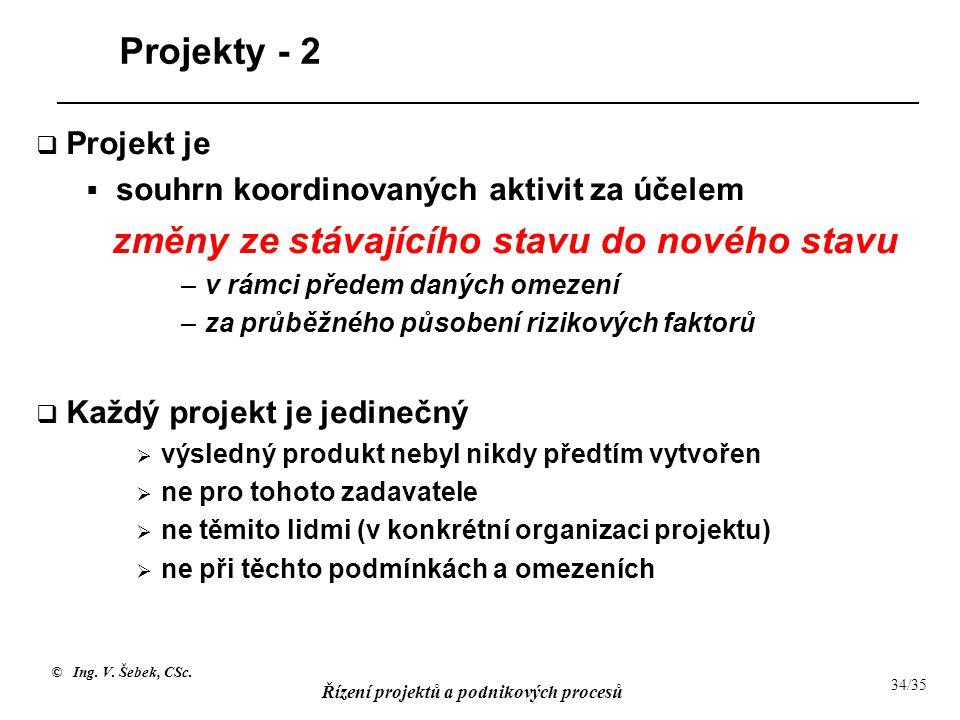 © Ing. V. Šebek, CSc. Řízení projektů a podnikových procesů 34/35 Projekty - 2  Projekt je  souhrn koordinovaných aktivit za účelem změny ze stávají