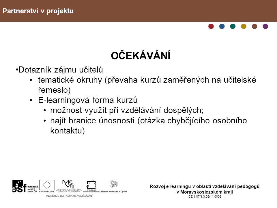 Partnerství v projektu Rozvoj e-learningu v oblasti vzdělávání pedagogů v Moravskoslezském kraji CZ.1.07/1.3.05/11.0008 OČEKÁVÁNÍ Dotazník zájmu učite