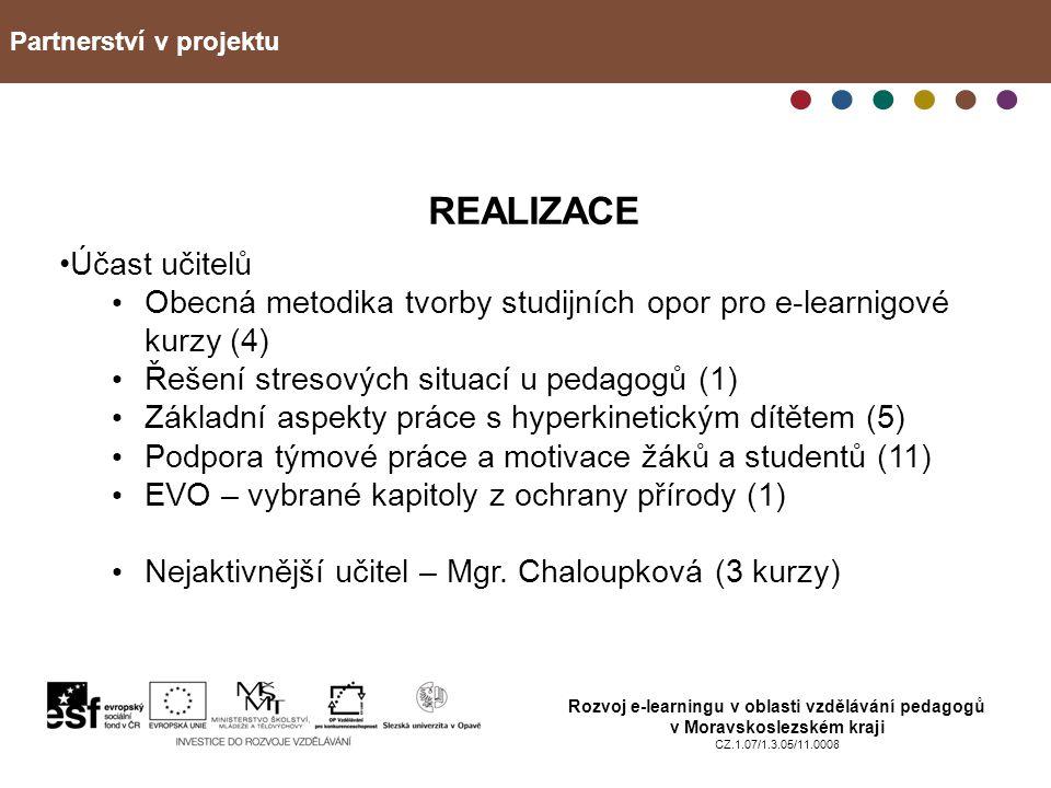 Partnerství v projektu Rozvoj e-learningu v oblasti vzdělávání pedagogů v Moravskoslezském kraji CZ.1.07/1.3.05/11.0008 REALIZACE Účast učitelů Obecná