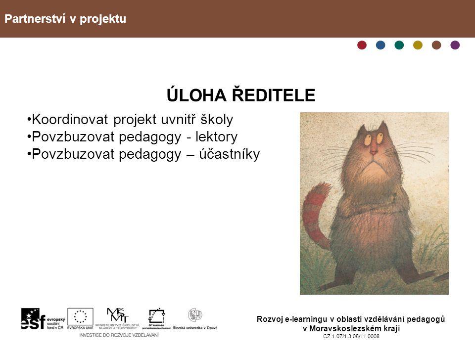Partnerství v projektu Rozvoj e-learningu v oblasti vzdělávání pedagogů v Moravskoslezském kraji CZ.1.07/1.3.05/11.0008 ÚLOHA ŘEDITELE Koordinovat pro