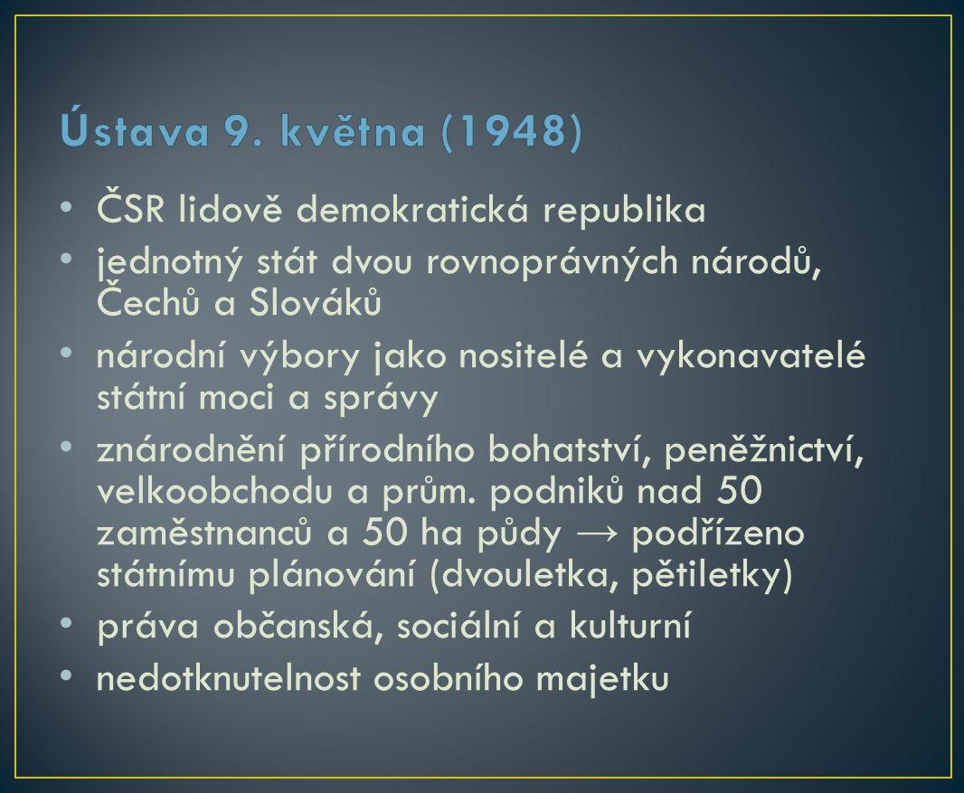 ČSR lidově demokratická republika jednotný stát dvou rovnoprávných národů, Čechů a Slováků národní výbory jako nositelé a vykonavatelé státní moci a správy znárodnění přírodního bohatství, peněžnictví, velkoobchodu a prům.